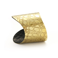 Etched gold and chocolate 'Skin' Cuff