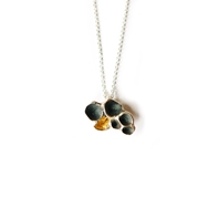 Lichen silver pendant - oxidised and gold leaf
