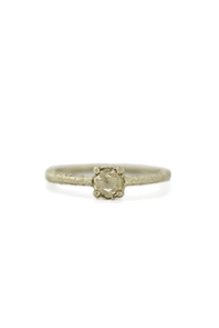 Yellow gold ring with rose cut yellow diamond