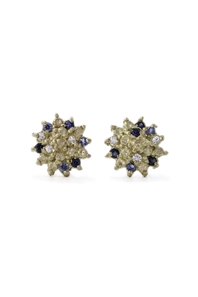 Multi coloured sapphire studs in yellow gold