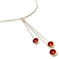 Droplet Cherry Enamel Necklace