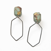 My Seoul oxidised, green and gold earrings
