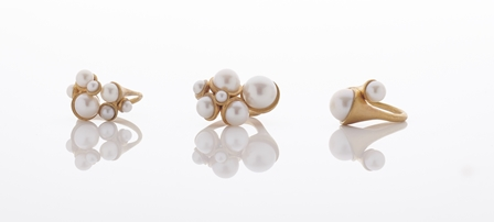 Pearl spheres rings by Roxanne Gilbert