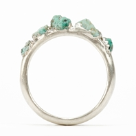Silver Emerald Crystal Ring