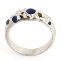 Silver Sapphire and Alexandrite Floating Gems Ring