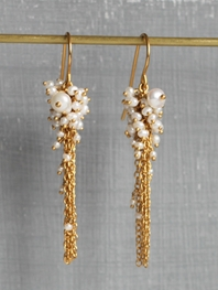 Pearl Encrusted Tassel Earrings