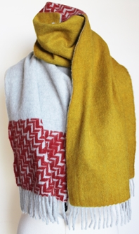 JKD Angora/wool 'colour block' yellow blocks with red herringbone on silver (knotted)