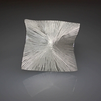 Forged silver square brooch